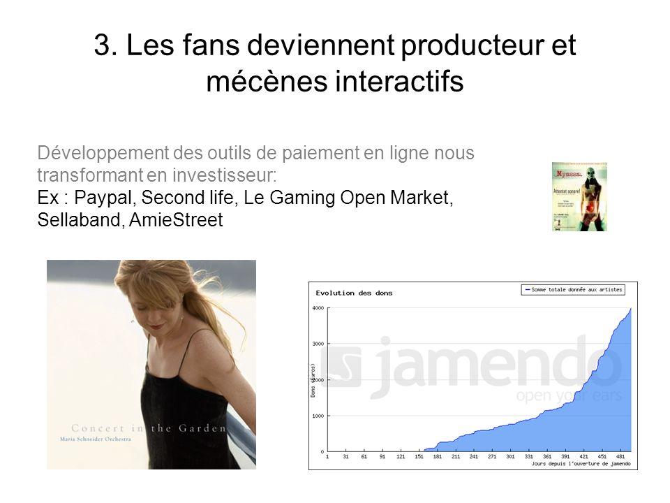 3. Les fans deviennent producteur et mécènes interactifs Développement des outils de paiement en ligne nous transformant en investisseur: Ex : Paypal,