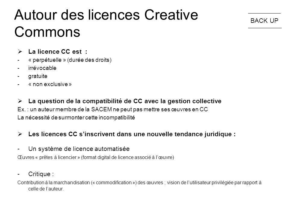 Autour des licences Creative Commons  La licence CC est : -« perpétuelle » (durée des droits) -irrévocable -gratuite -« non exclusive »  La question de la compatibilité de CC avec la gestion collective Ex.