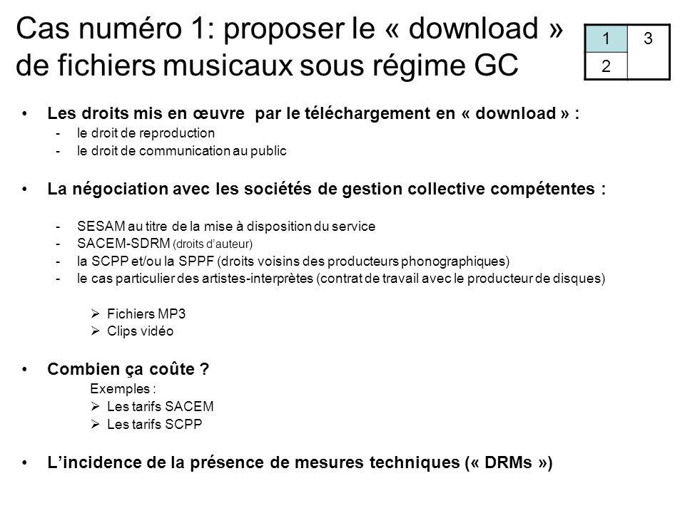 Cas numéro 1: proposer le « download » de fichiers musicaux sous régime GC 13 2 Les droits mis en œuvre par le téléchargement en « download » : -le droit de reproduction -le droit de communication au public La négociation avec les sociétés de gestion collective compétentes : -SESAM au titre de la mise à disposition du service -SACEM-SDRM (droits d'auteur) -la SCPP et/ou la SPPF (droits voisins des producteurs phonographiques) -le cas particulier des artistes-interprètes (contrat de travail avec le producteur de disques)  Fichiers MP3  Clips vidéo Combien ça coûte .