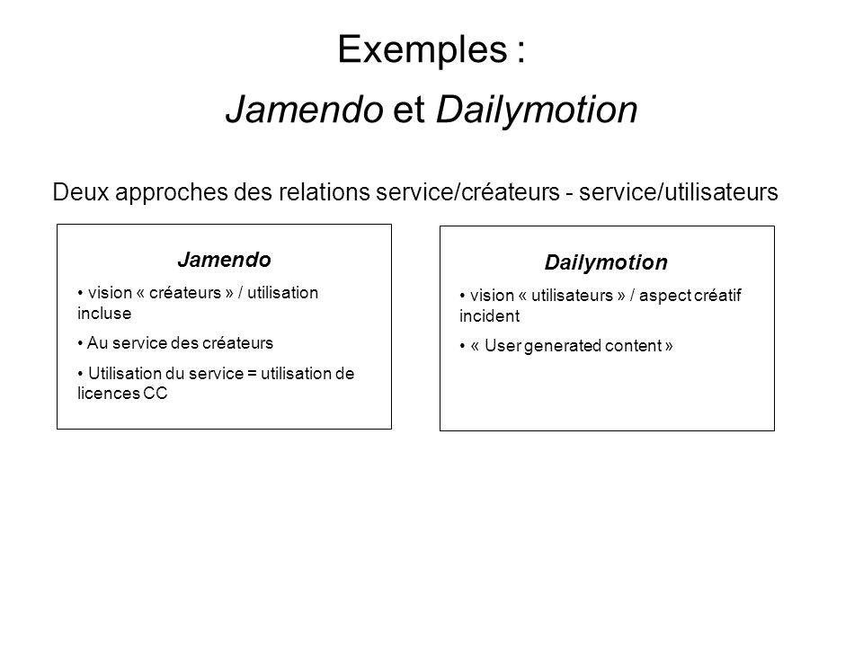 Exemples : Jamendo et Dailymotion Deux approches des relations service/créateurs - service/utilisateurs Jamendo vision « créateurs » / utilisation incluse Au service des créateurs Utilisation du service = utilisation de licences CC Dailymotion vision « utilisateurs » / aspect créatif incident « User generated content »