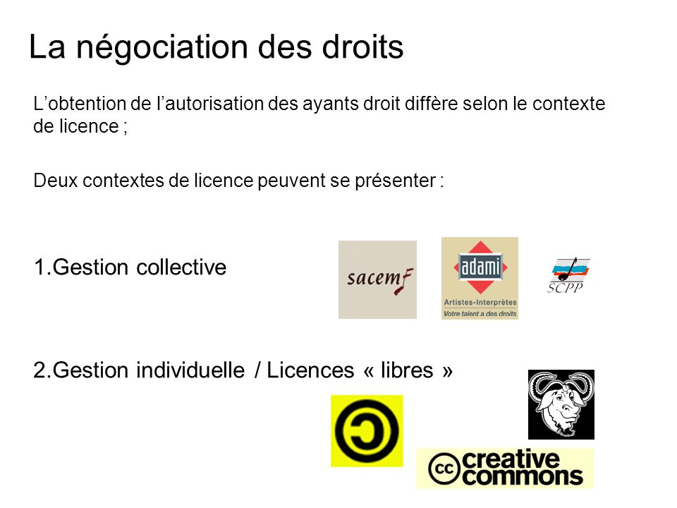 La négociation des droits L'obtention de l'autorisation des ayants droit diffère selon le contexte de licence ; Deux contextes de licence peuvent se présenter : 1.Gestion collective 2.Gestion individuelle / Licences « libres »