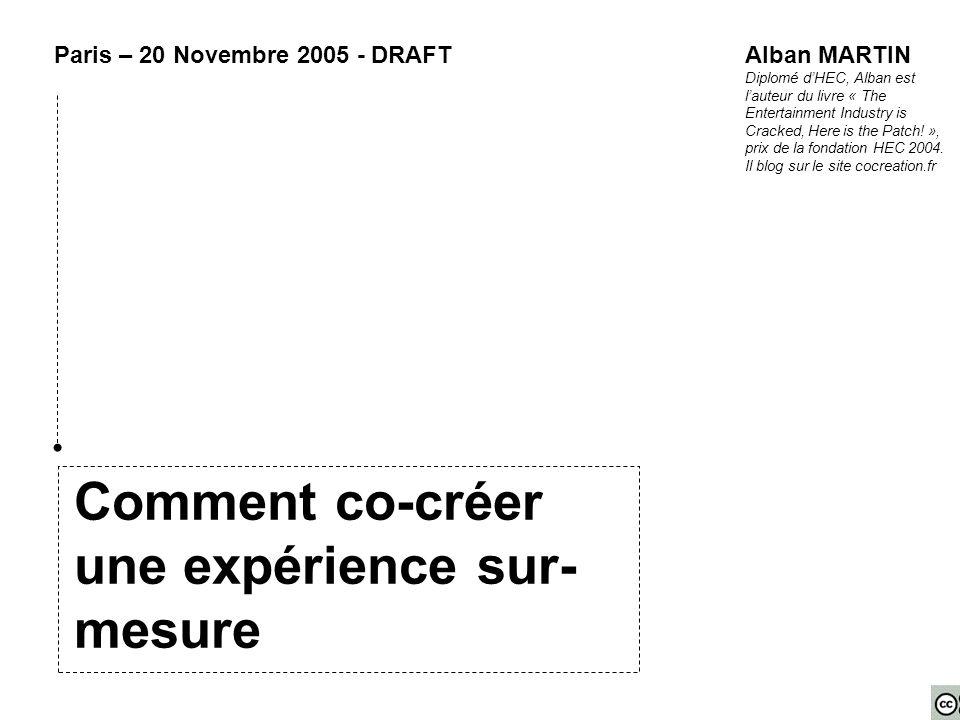 Comment co-créer une expérience sur- mesure Paris – 20 Novembre 2005 - DRAFTAlban MARTIN Diplomé d'HEC, Alban est l'auteur du livre « The Entertainment Industry is Cracked, Here is the Patch.