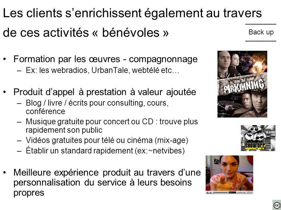 Les clients s'enrichissent également au travers de ces activités « bénévoles » Formation par les œuvres - compagnonnage –Ex: les webradios, UrbanTale,