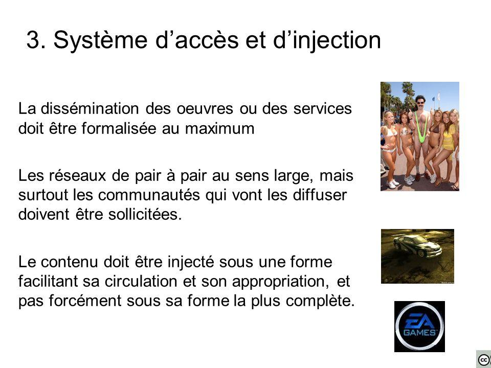 3. Système d'accès et d'injection La dissémination des oeuvres ou des services doit être formalisée au maximum Les réseaux de pair à pair au sens larg
