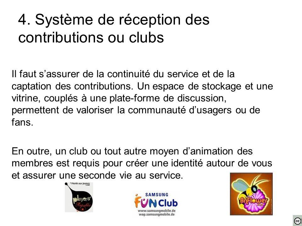 4. Système de réception des contributions ou clubs Il faut s'assurer de la continuité du service et de la captation des contributions. Un espace de st