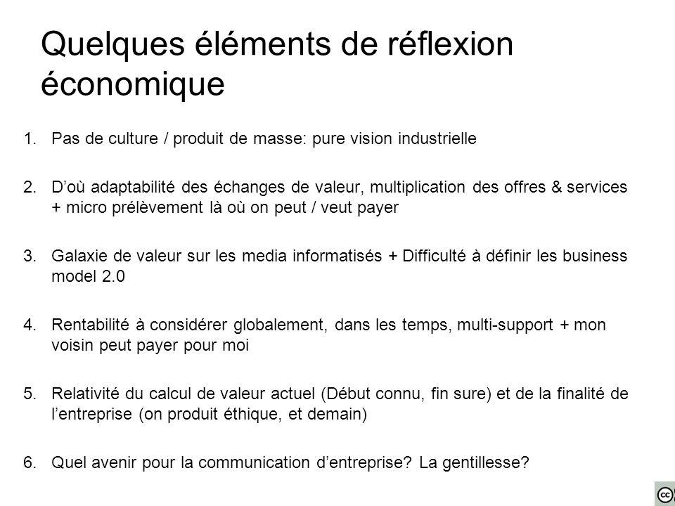 Quelques éléments de réflexion économique 1.Pas de culture / produit de masse: pure vision industrielle 2.D'où adaptabilité des échanges de valeur, mu