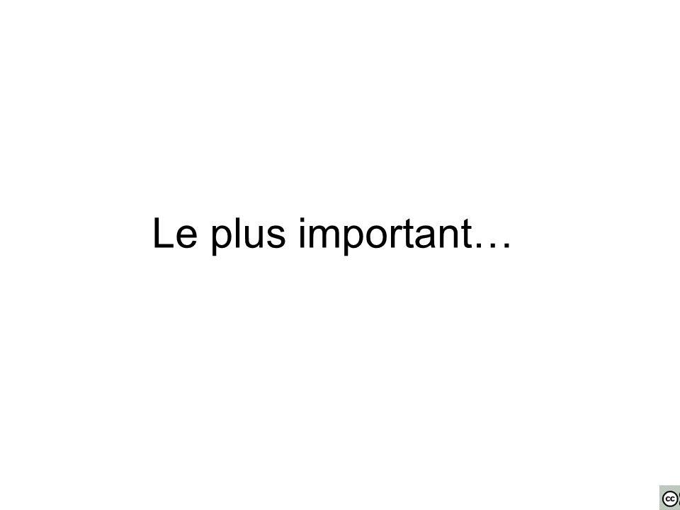 Le plus important…