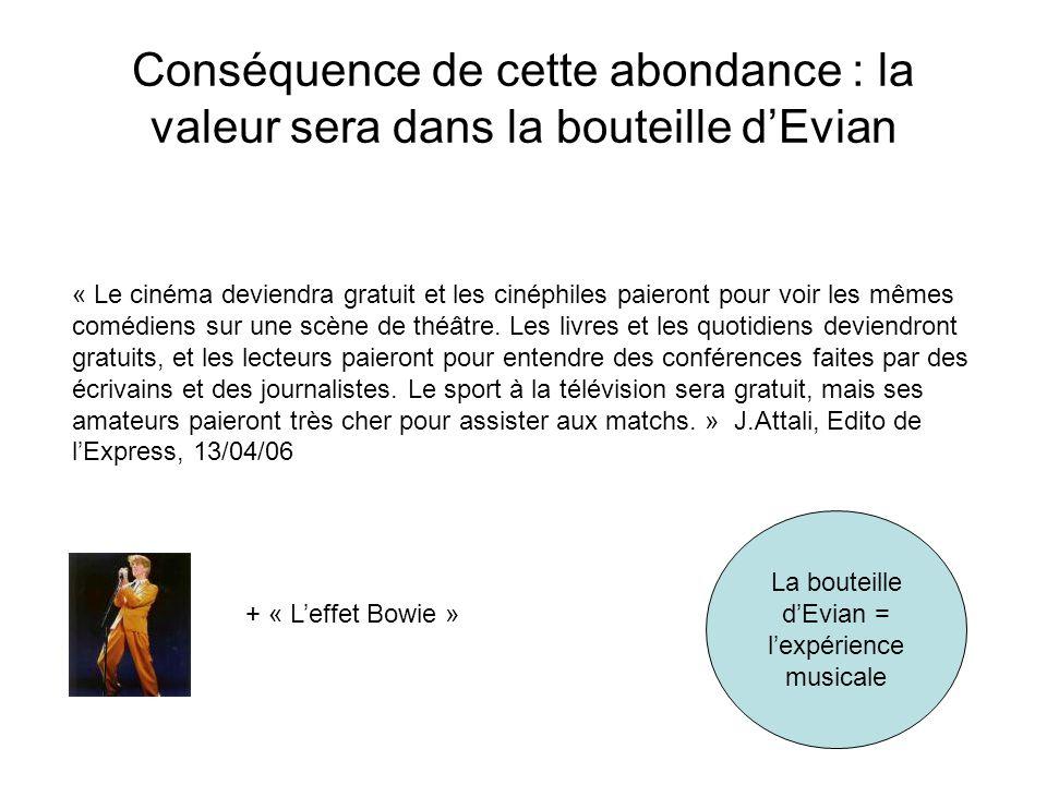 Conséquence de cette abondance : la valeur sera dans la bouteille d'Evian « Le cinéma deviendra gratuit et les cinéphiles paieront pour voir les mêmes comédiens sur une scène de théâtre.