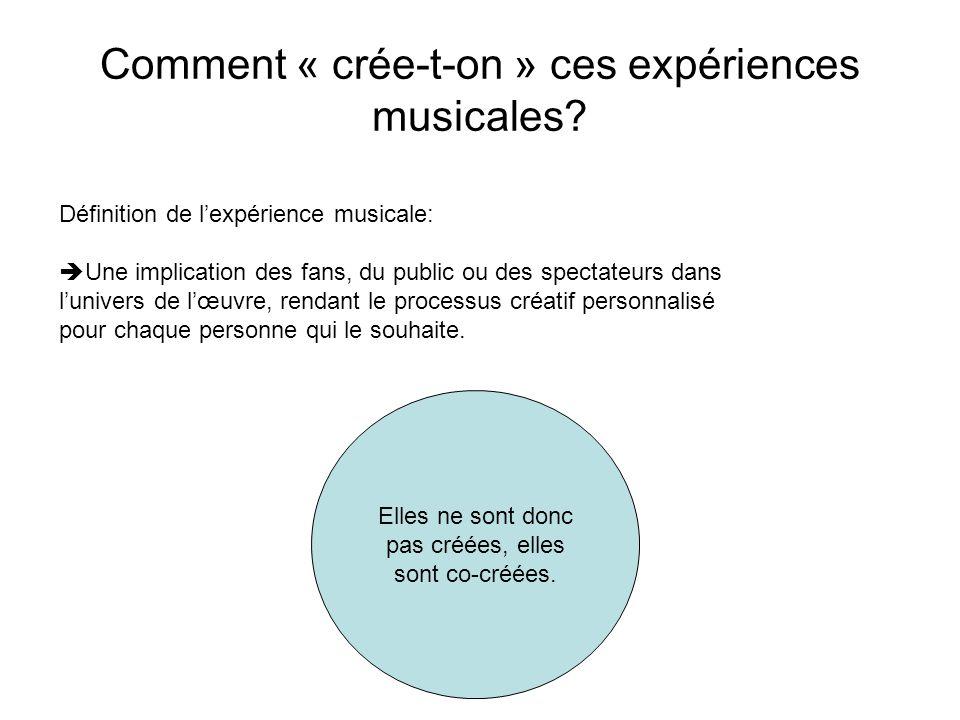 Comment « crée-t-on » ces expériences musicales.