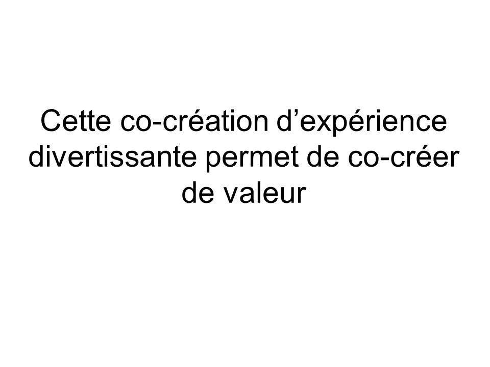 Cette co-création d'expérience divertissante permet de co-créer de valeur