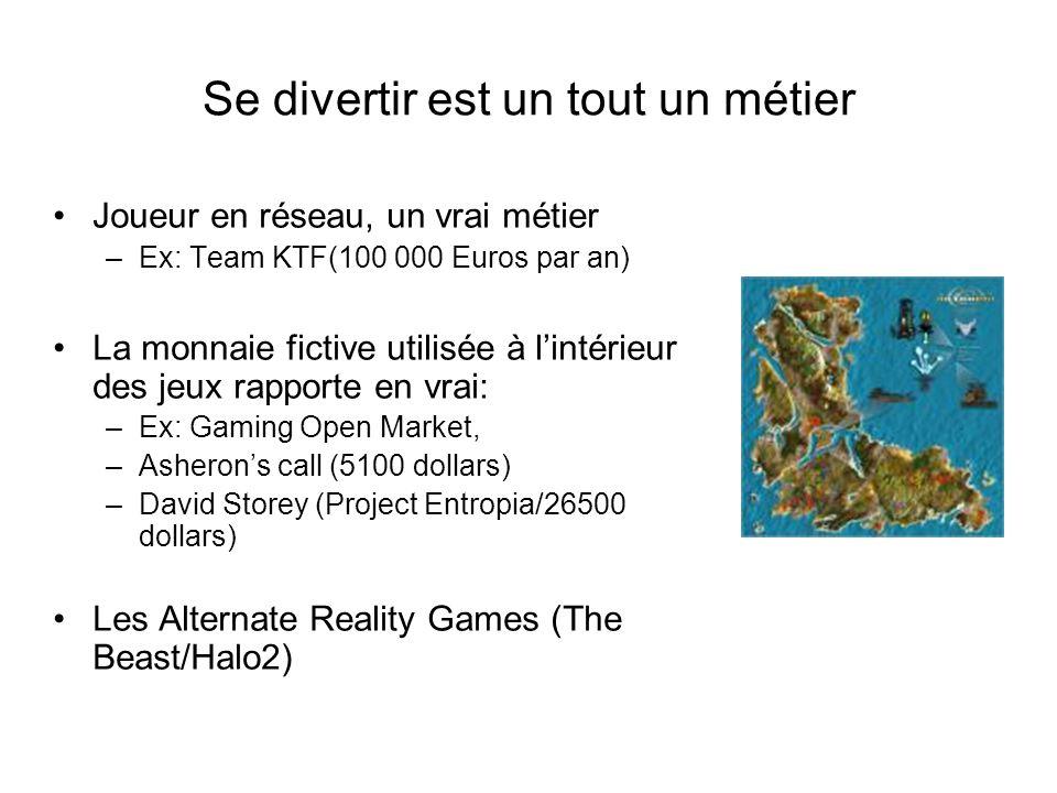 Se divertir est un tout un métier Joueur en réseau, un vrai métier –Ex: Team KTF(100 000 Euros par an) La monnaie fictive utilisée à l'intérieur des jeux rapporte en vrai: –Ex: Gaming Open Market, –Asheron's call (5100 dollars) –David Storey (Project Entropia/26500 dollars) Les Alternate Reality Games (The Beast/Halo2)