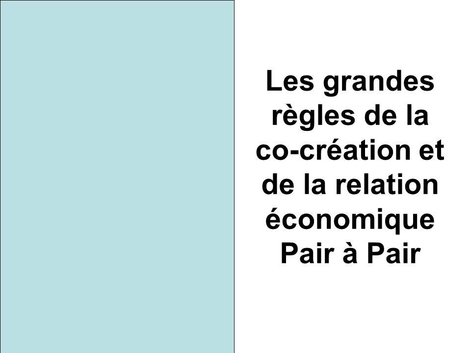 Les grandes règles de la co-création et de la relation économique Pair à Pair