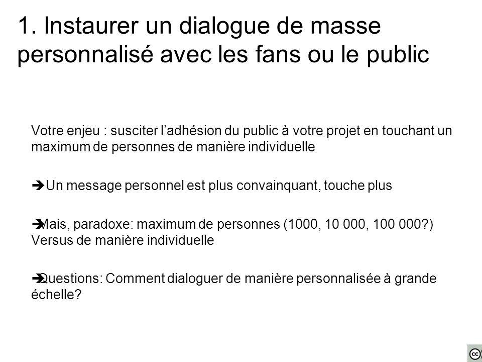 1. Instaurer un dialogue de masse personnalisé avec les fans ou le public Votre enjeu : susciter l'adhésion du public à votre projet en touchant un ma