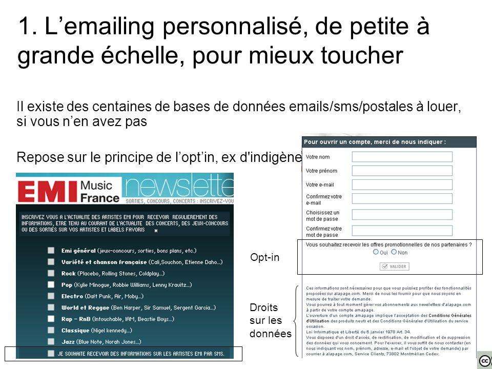 1. L'emailing personnalisé, de petite à grande échelle, pour mieux toucher Il existe des centaines de bases de données emails/sms/postales à louer, si