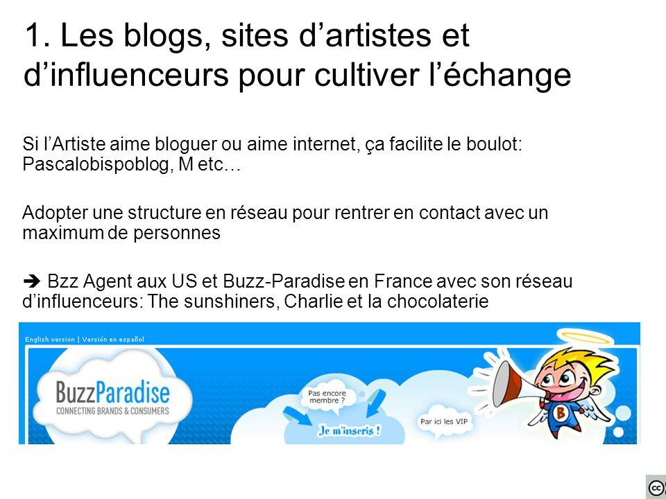 Si l'Artiste aime bloguer ou aime internet, ça facilite le boulot: Pascalobispoblog, M etc… Adopter une structure en réseau pour rentrer en contact avec un maximum de personnes  Bzz Agent aux US et Buzz-Paradise en France avec son réseau d'influenceurs: The sunshiners, Charlie et la chocolaterie 1.