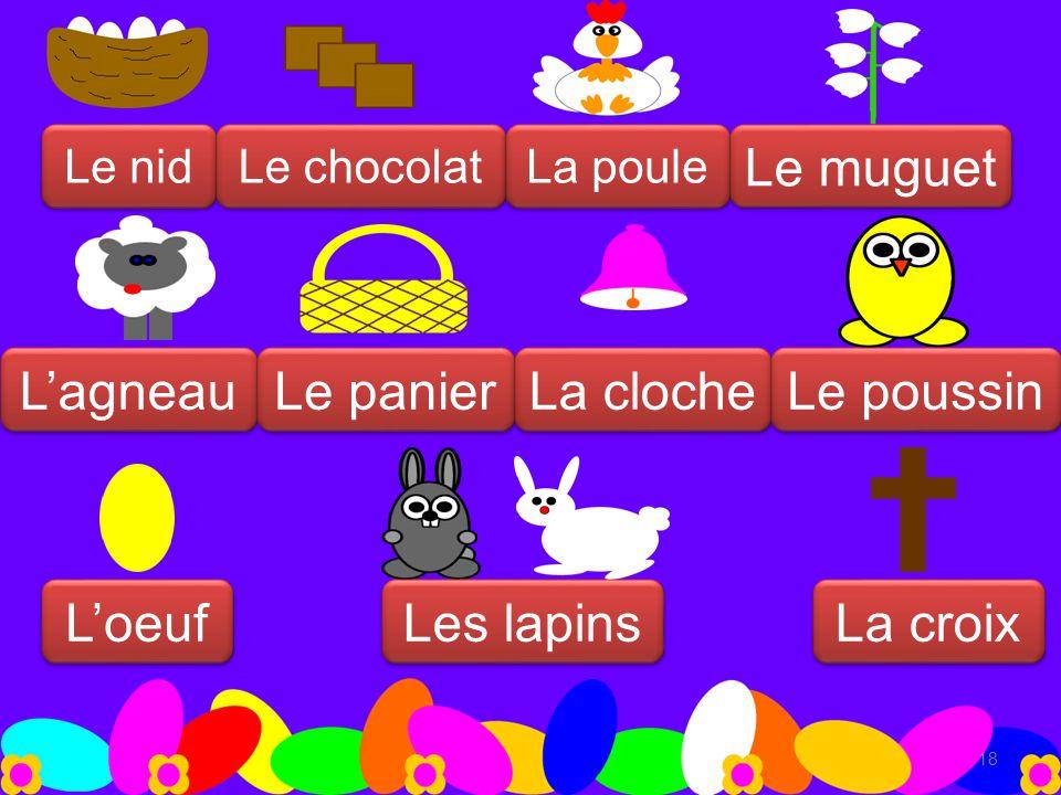 18 Le nid Le chocolat La poule L'oeuf L'agneau Le panier La cloche Le muguet Le poussin La croix Les lapins