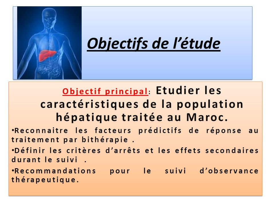 Objectifs de l'étude Objectif principal : Etudier les caractéristiques de la population hépatique traitée au Maroc. Reconnaitre les facteurs prédictif