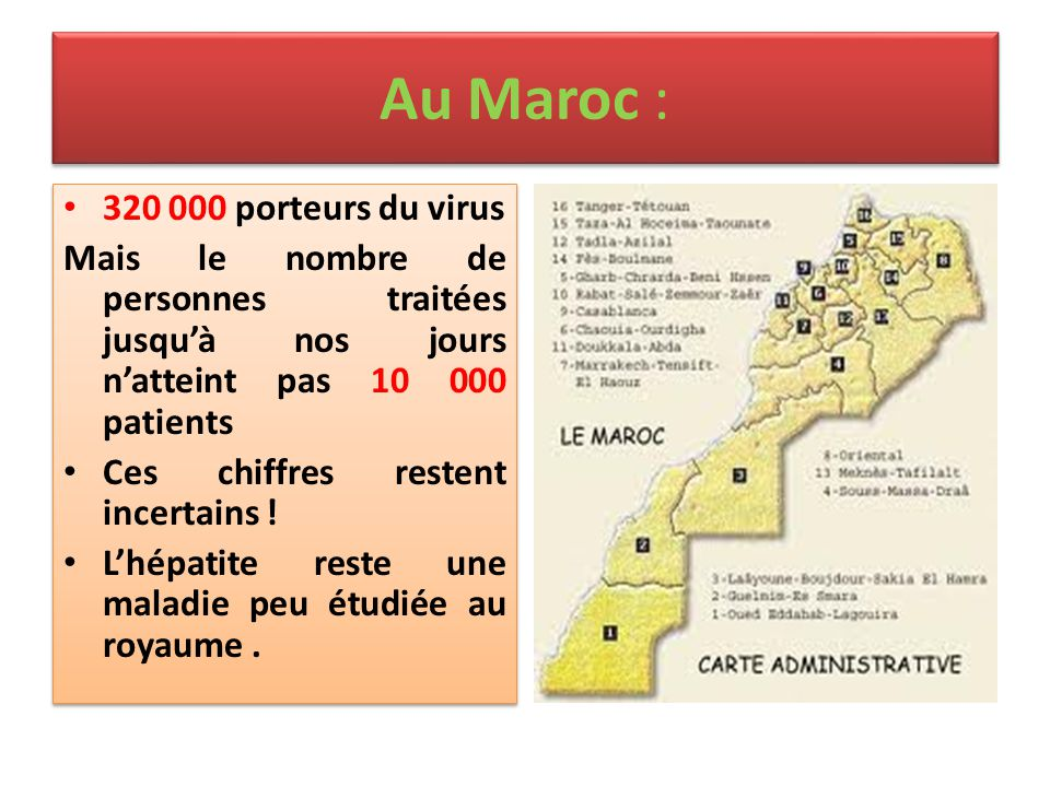 Au Maroc : 320 000 porteurs du virus Mais le nombre de personnes traitées jusqu'à nos jours n'atteint pas 10 000 patients Ces chiffres restent incerta
