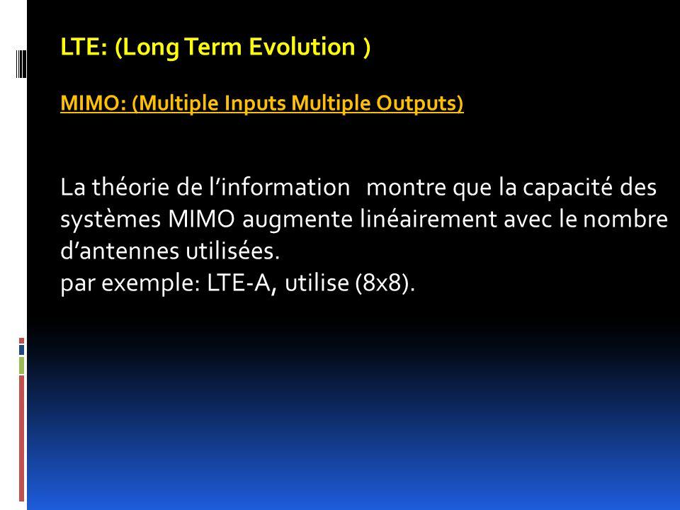 LTE: (Long Term Evolution ) MIMO: (Multiple Inputs Multiple Outputs) La théorie de l'information montre que la capacité des systèmes MIMO augmente lin