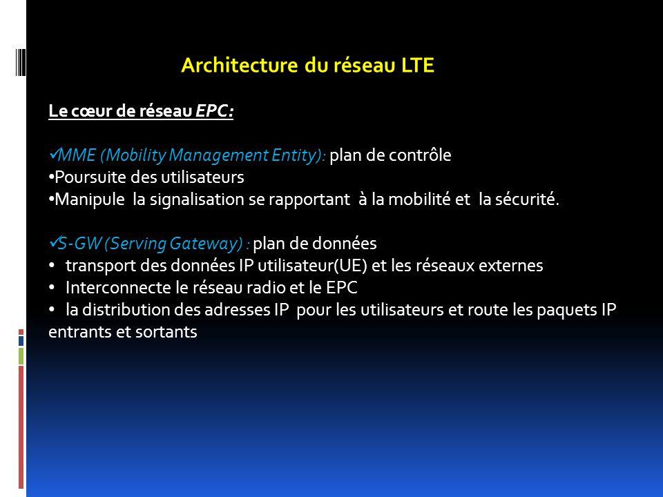 Architecture du réseau LTE Le cœur de réseau EPC: MME (Mobility Management Entity): plan de contrôle Poursuite des utilisateurs Manipule la signalisat