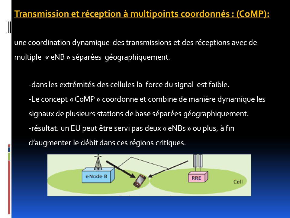 Transmission et réception à multipoints coordonnés : (CoMP): une coordination dynamique des transmissions et des réceptions avec de multiple « eNB » s