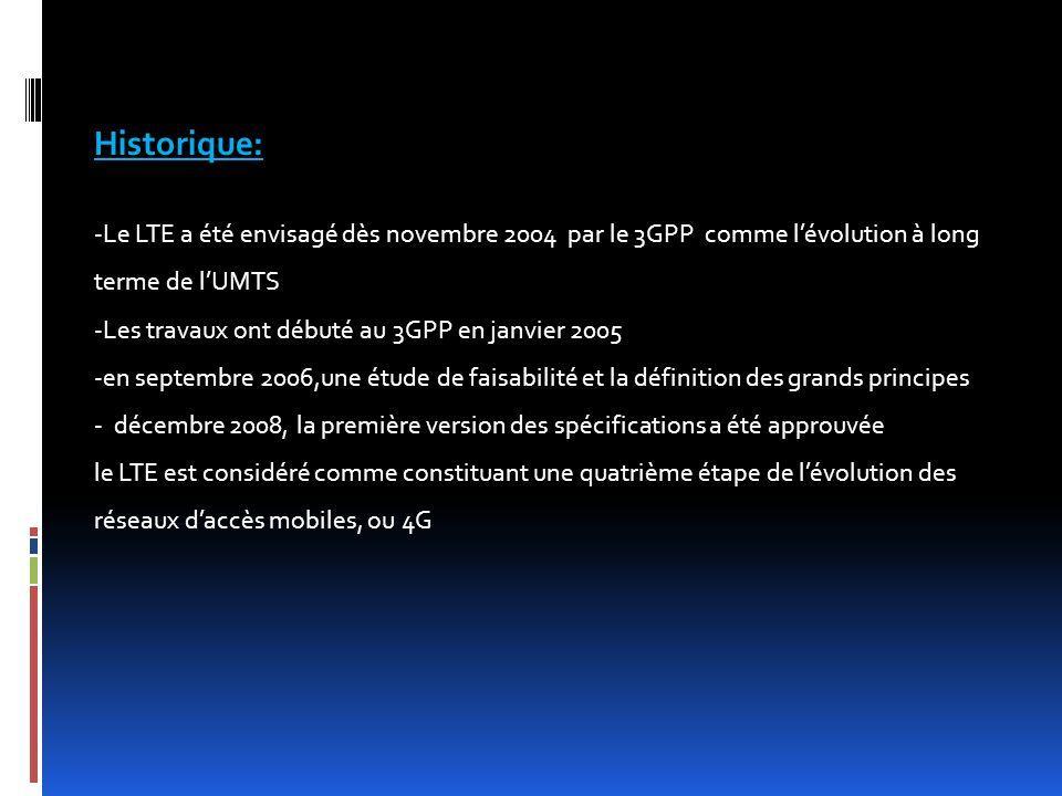 Historique: -Le LTE a été envisagé dès novembre 2004 par le 3GPP comme l'évolution à long terme de l'UMTS -Les travaux ont débuté au 3GPP en janvier 2