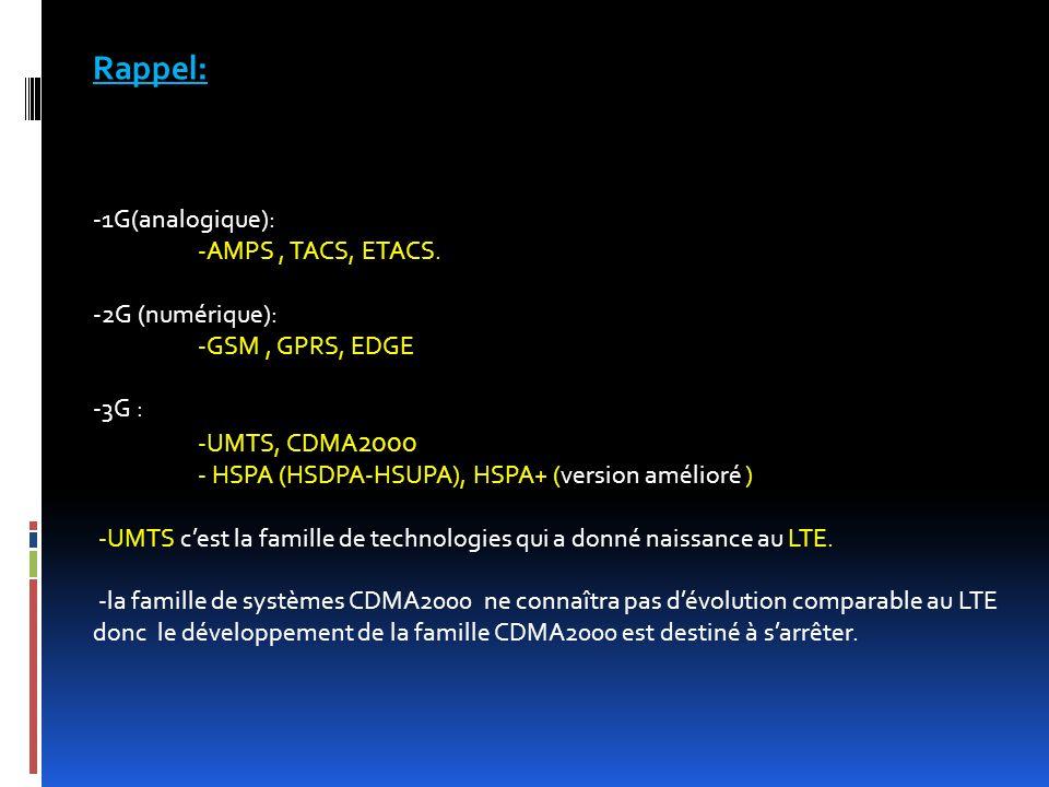 LTE: (Long Term Evolution )  Débit max descendant: 150 Mbps  Débit montant max :50 Mbits/s  Bande passante jusqu'à 20 MHz  Large gamme de fréquences  Modulation jusqu'à 64-QAM  Antennes MIMO (Multiple Input Multiple Output)  Taille de cellules variable (jusqu'à 100 kms)  200 clients actifs par cellule  Latence faible de 20 ms vs 50-60ms for HSPA+  Evolution des deux parties: radio et cœur  Tout est basé sur IP (la voix et les données sont transportés par IP) grâce au codage de type: OFDMA (descendante ) SC-OFDMA(descendante )