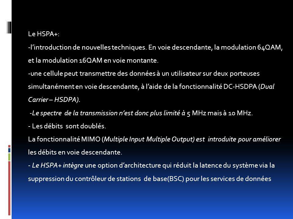 Le HSPA+: -l'introduction de nouvelles techniques. En voie descendante, la modulation 64QAM, et la modulation 16QAM en voie montante. -une cellule peu