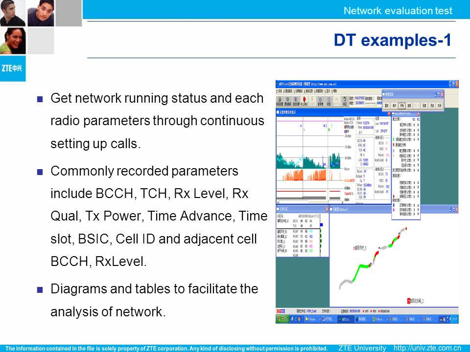 Network evaluation test DT examples-1 Get network running status and each radio parameters through continuous setting up calls. Commonly recorded para