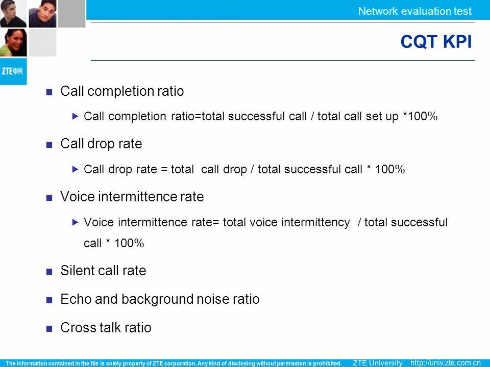 Network evaluation test CQT KPI Call completion ratio  Call completion ratio=total successful call / total call set up *100% Call drop rate  Call dr