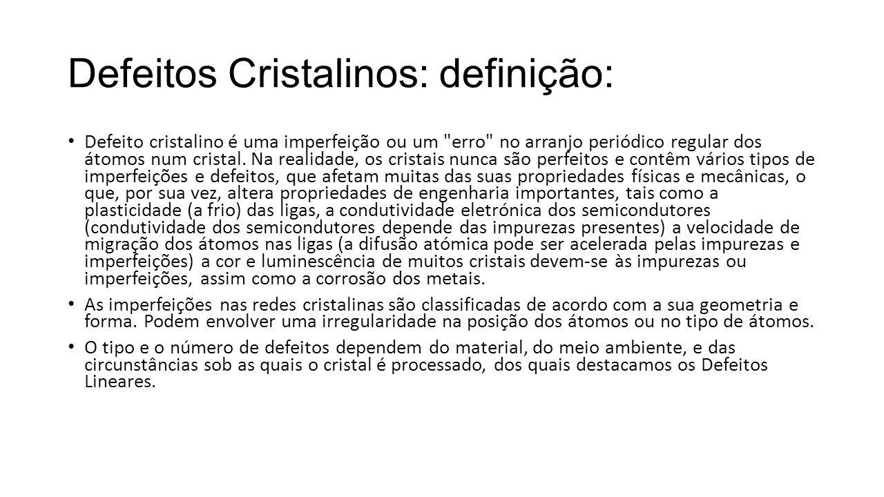Defeitos Cristalinos: definição: Defeito cristalino é uma imperfeição ou um erro no arranjo periódico regular dos átomos num cristal.