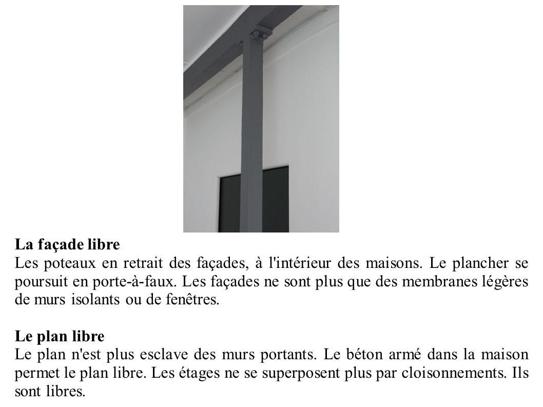 La façade libre Les poteaux en retrait des façades, à l'intérieur des maisons. Le plancher se poursuit en porte-à-faux. Les façades ne sont plus que d