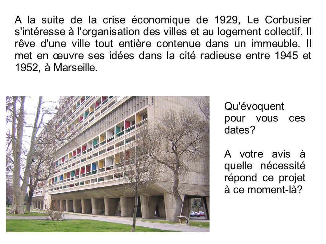 A la suite de la crise économique de 1929, Le Corbusier s'intéresse à l'organisation des villes et au logement collectif. Il rêve d'une ville tout ent