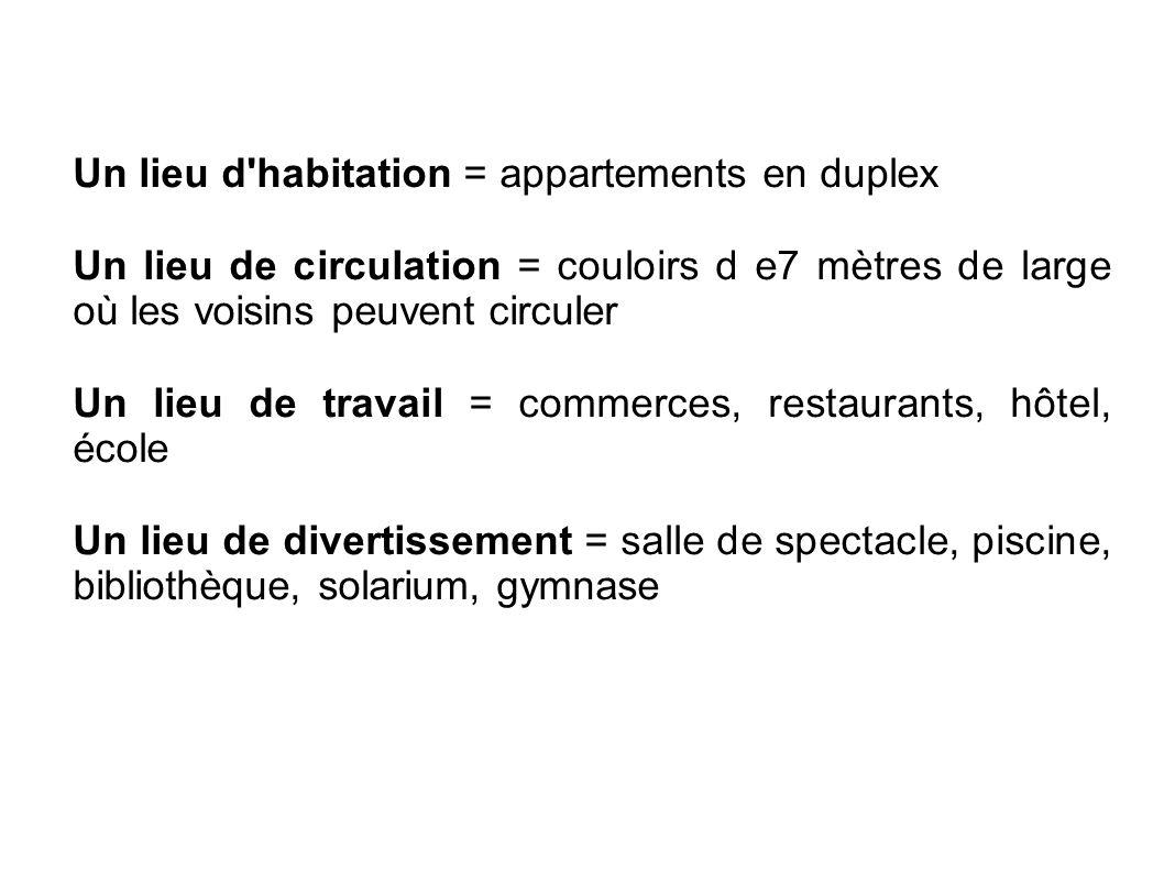 Un lieu d'habitation = appartements en duplex Un lieu de circulation = couloirs d e7 mètres de large où les voisins peuvent circuler Un lieu de travai