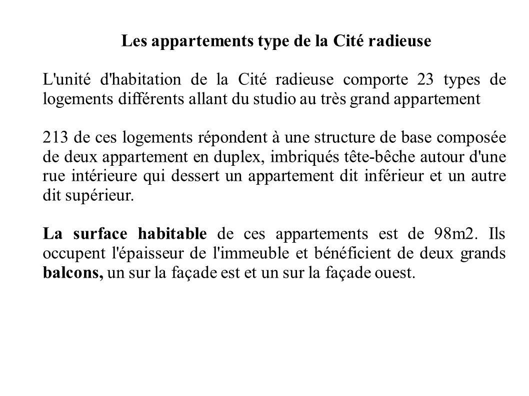 Les appartements type de la Cité radieuse L'unité d'habitation de la Cité radieuse comporte 23 types de logements différents allant du studio au très