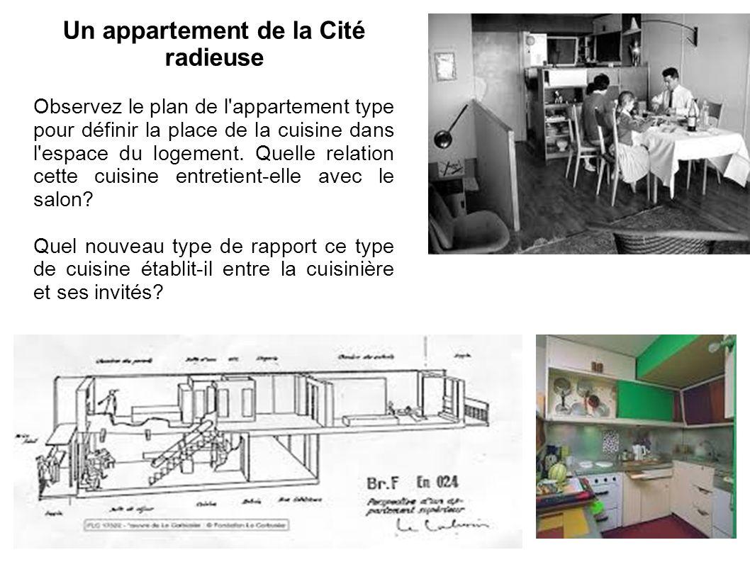 Un appartement de la Cité radieuse Observez le plan de l'appartement type pour définir la place de la cuisine dans l'espace du logement. Quelle relati