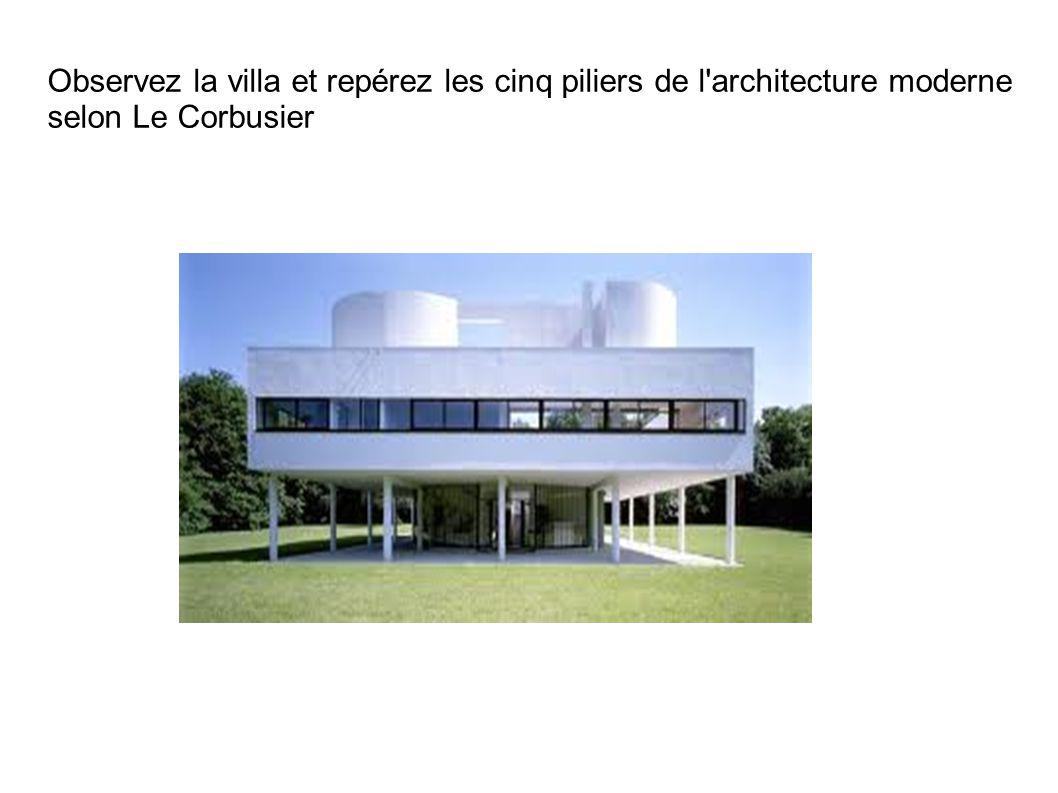 On retrouve dans cette villa les cinq piliers de l'architecture nouvelle prônée par Le Corbusier : la dalle soutenue par les poteaux, l'importante surface vitrée de la façade, les pilotis, le toit et la fenêtre en bandeau.