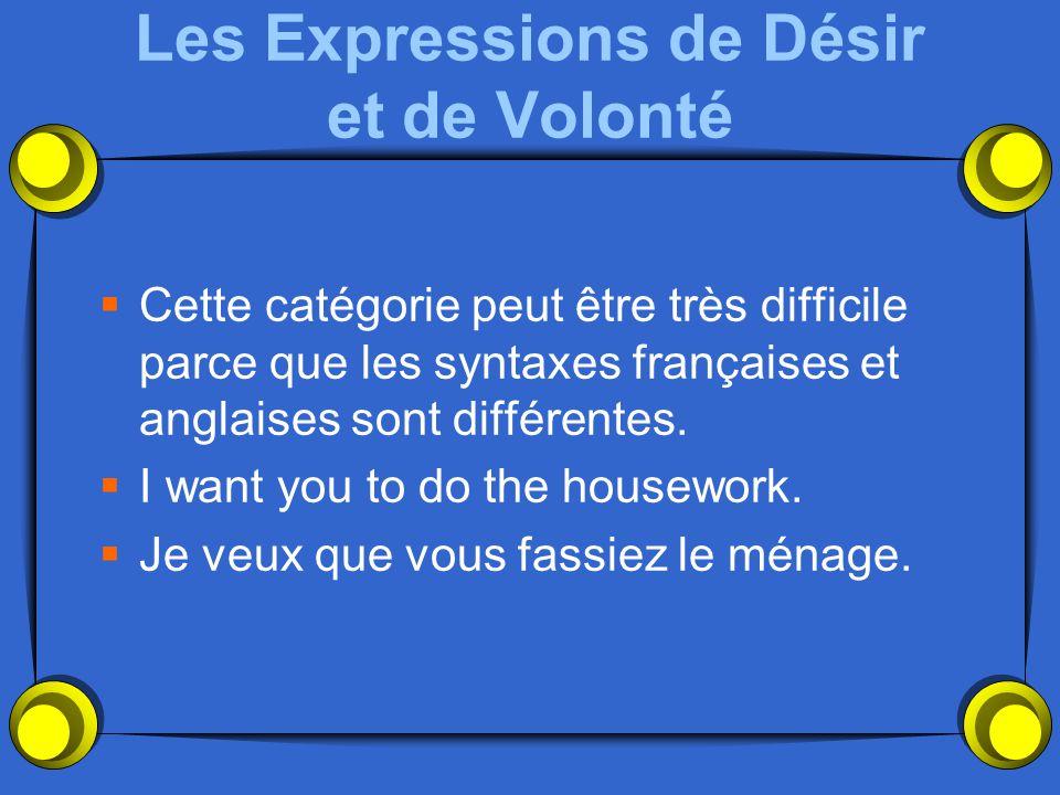 Les Expressions Impersonnelles  Il est important que tu fasses le ménage.  Il vaut mieux que nous étudiions.  Il est normal que Madame soit exigean