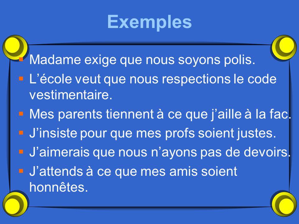 Les Expressions de Désir et de Volonté  Cette catégorie peut être très difficile parce que les syntaxes françaises et anglaises sont différentes.  I
