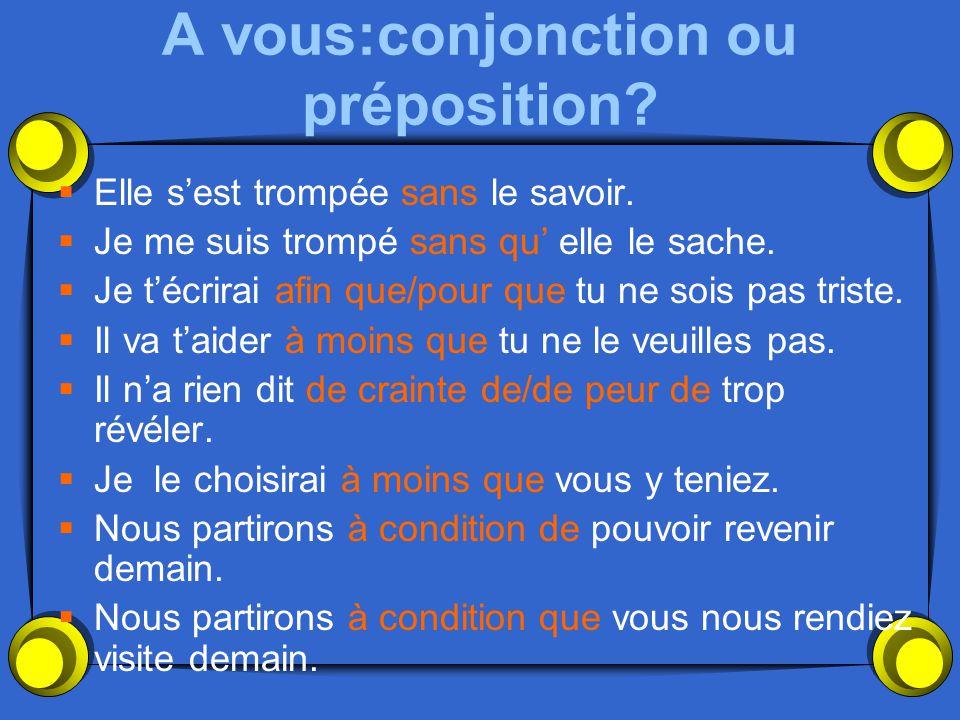 A vous:conjonction ou préposition?  Elle s'est trompée (without) le savoir.  Je me suis trompé (without) elle le sache.  Je t'écrirai (so that) tu