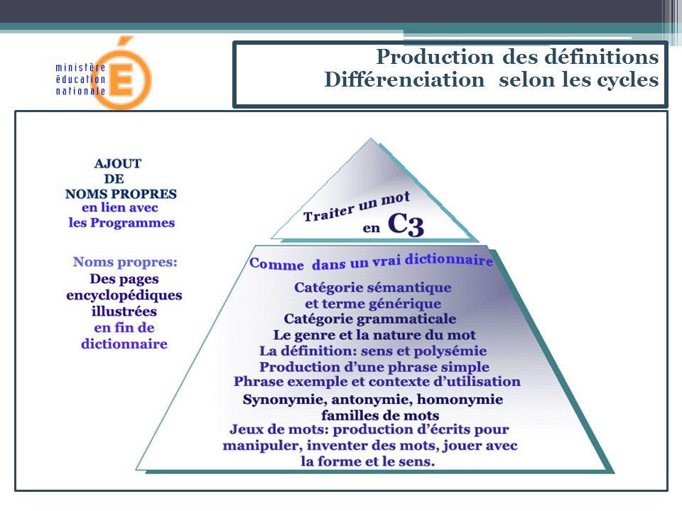 Production des définitions Différenciation selon les cycles