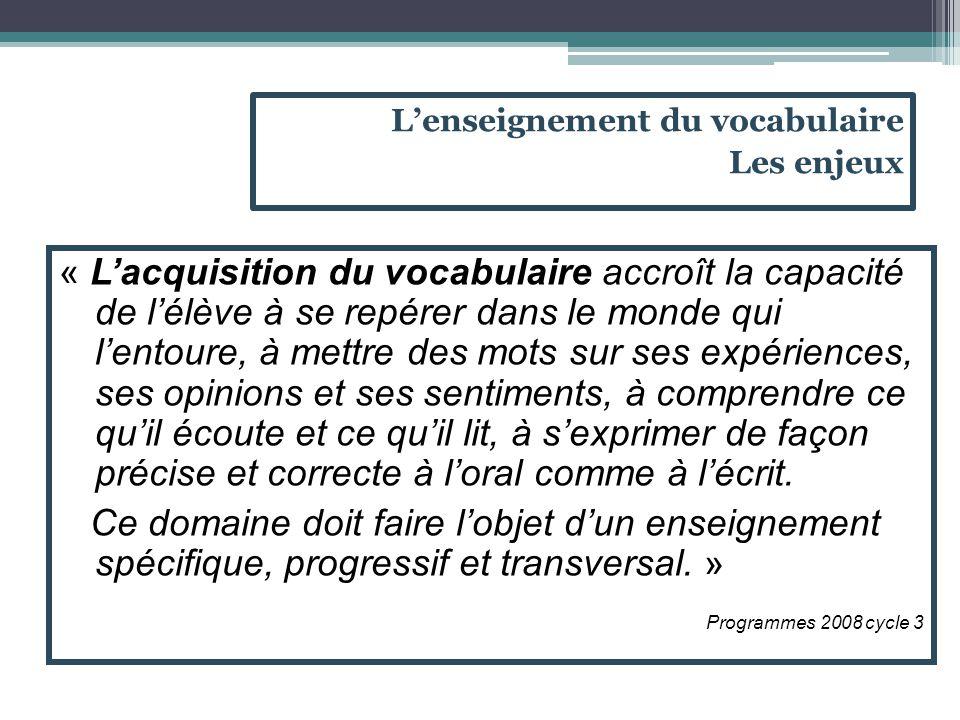 On peut regrouper les notions lexicales en 3 domaines : -Le domaine sémantique : Le travail sur le sens des mots est explicite dès le cycle 1.