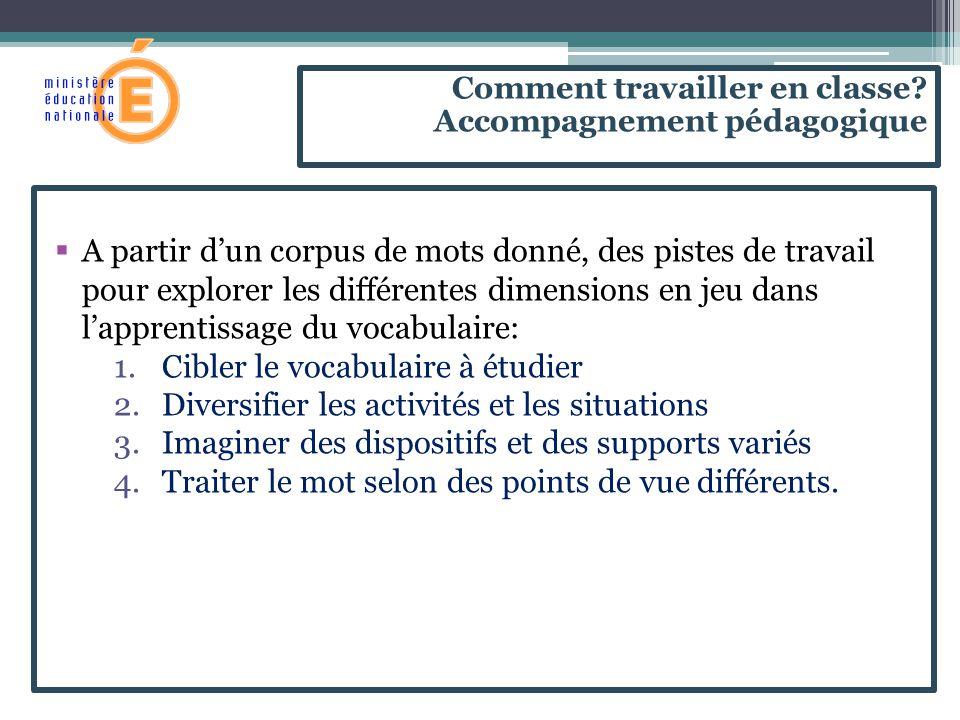  A partir d'un corpus de mots donné, des pistes de travail pour explorer les différentes dimensions en jeu dans l'apprentissage du vocabulaire: 1.Cib