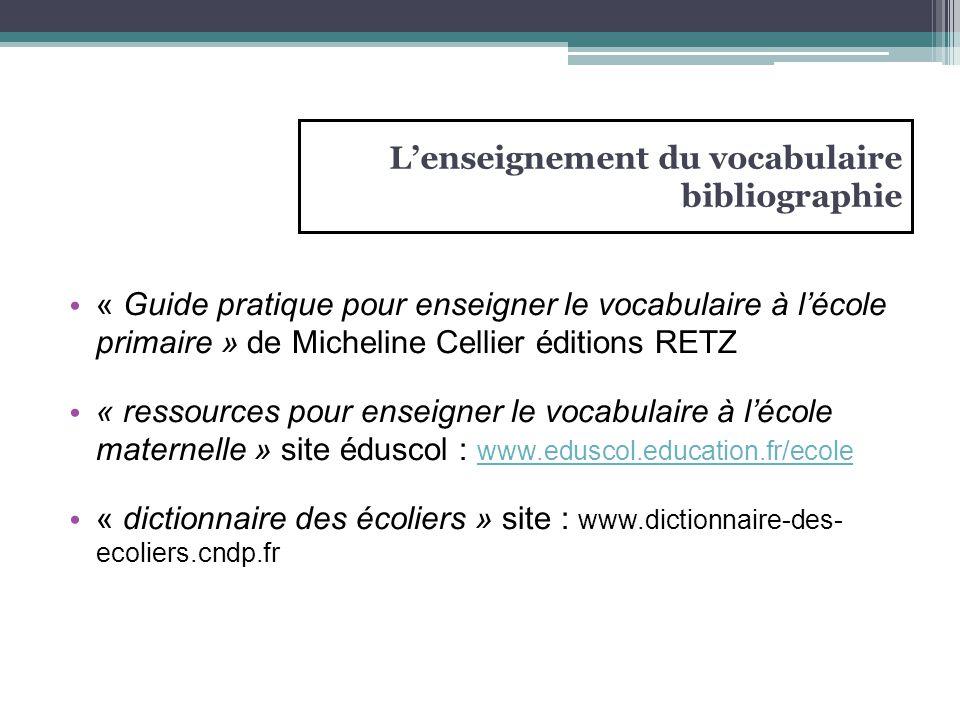 L'enseignement du vocabulaire bibliographie « Guide pratique pour enseigner le vocabulaire à l'école primaire » de Micheline Cellier éditions RETZ « r