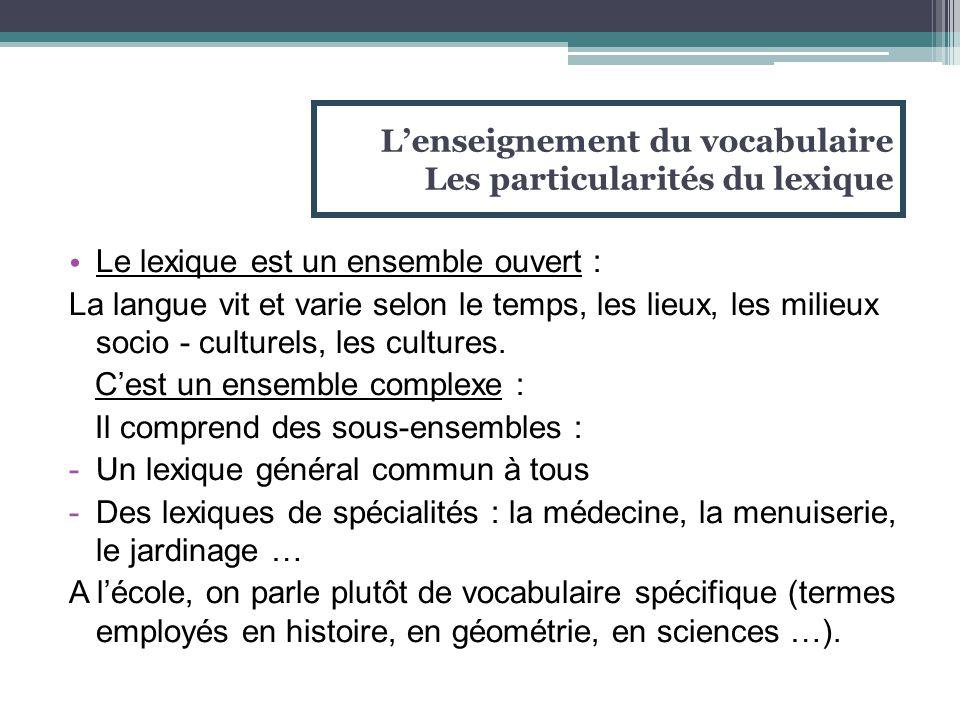 Le lexique est un ensemble ouvert : La langue vit et varie selon le temps, les lieux, les milieux socio - culturels, les cultures. C'est un ensemble c