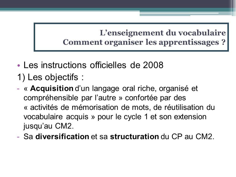 Les instructions officielles de 2008 1) Les objectifs : -« Acquisition d'un langage oral riche, organisé et compréhensible par l'autre » confortée par