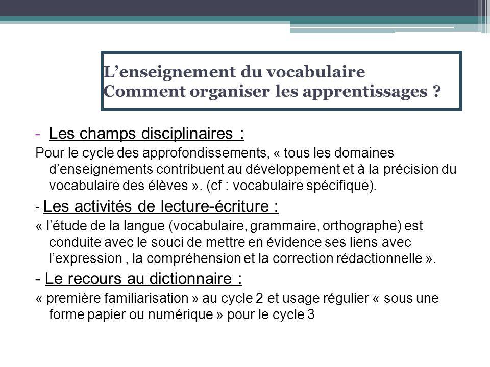 L'enseignement du vocabulaire Comment organiser les apprentissages ? -Les champs disciplinaires : Pour le cycle des approfondissements, « tous les dom