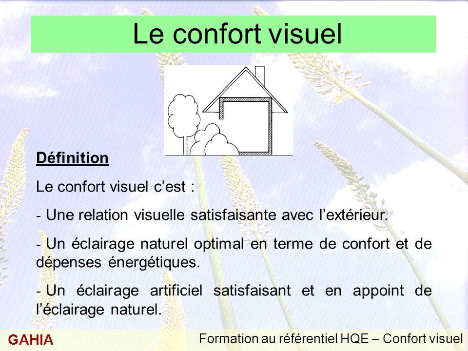 Formation au référentiel HQE – Confort visuel GAHIA Le confort visuel Définition Le confort visuel c'est : - Une relation visuelle satisfaisante avec