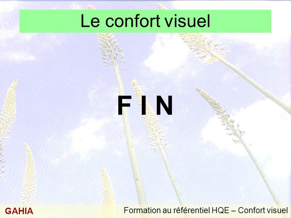 Formation au référentiel HQE – Confort visuel GAHIA Le confort visuel F I N