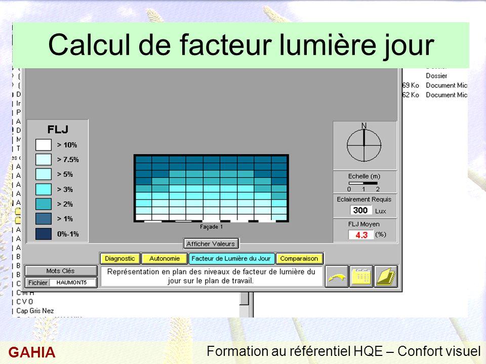 Formation au référentiel HQE – Confort visuel GAHIA Calcul de facteur lumière jour